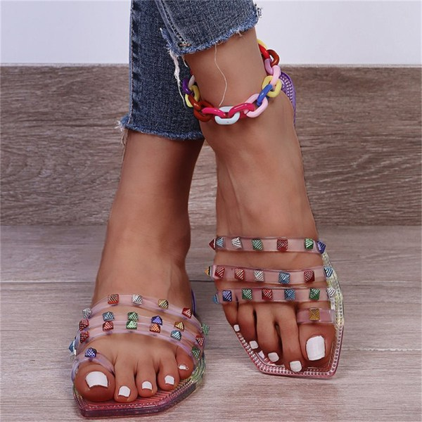 plus storlek sommar strand sandaler mode strass damskor Silver 36