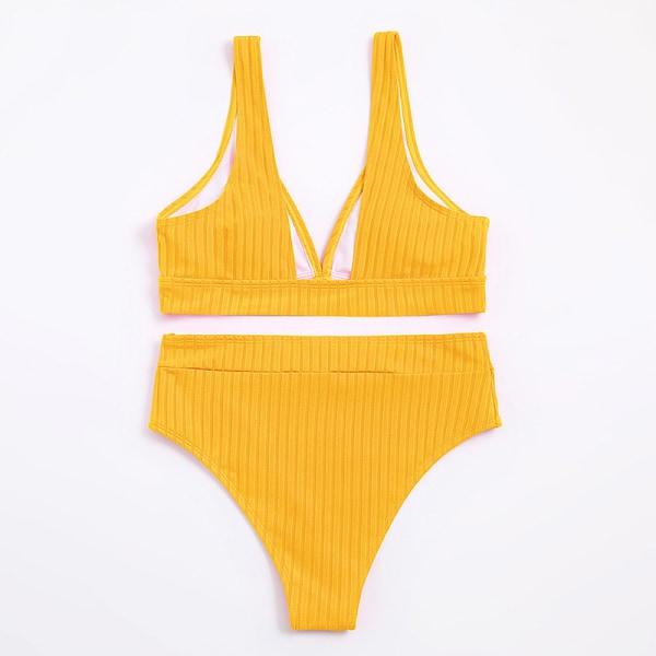 kvinnors sexiga solida bikinis baddräkt med hög midja Yellow L