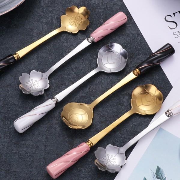 rostfritt stål blomma sked keramik handtag sked blandning elegant Gold K12