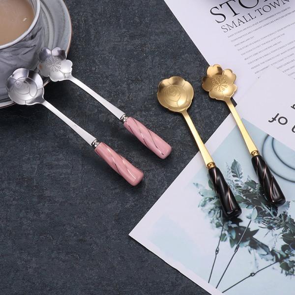 rostfritt stål blomma sked keramik handtag sked blandning elegant Silver K1