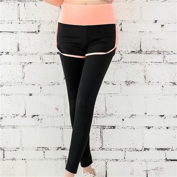 utomhuslöpning snabb torr yogakläder fitness gym hög midja p Rose red A1