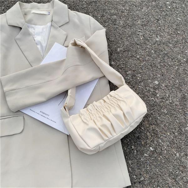 kvinnor godis tote väska veckad pu axel protable mode undera
