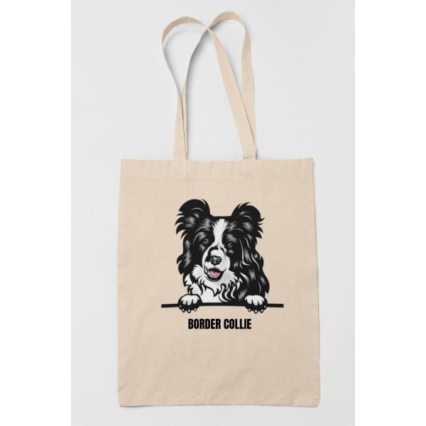 Border Collie tygkasse hund shopping väska Tote bag  Natur one size
