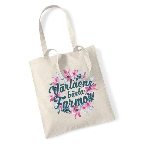 Tygkasse  Världens bästa Farmor shopping väska - Tote bag Bloom