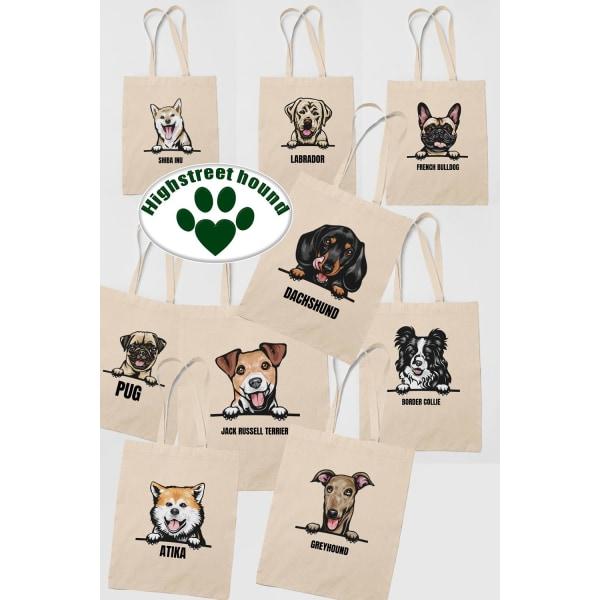 Mops Pug tygkasse hund shopping väska Tote bag  Natur one size