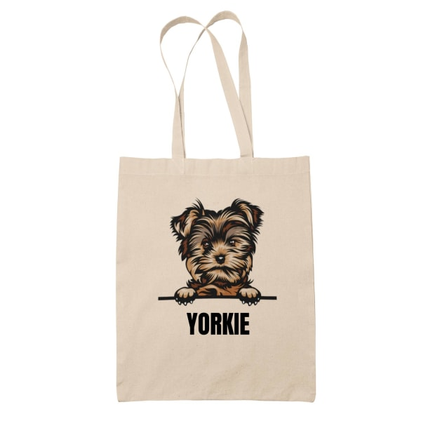Yorkshire terrier Yorkie tygkasse hund shopping väska Tote bag  Natur one size