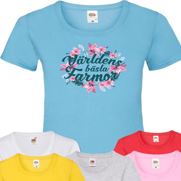 Farmor Blom t-shirt - flera färger - Blom Grå T-shirt - Medium