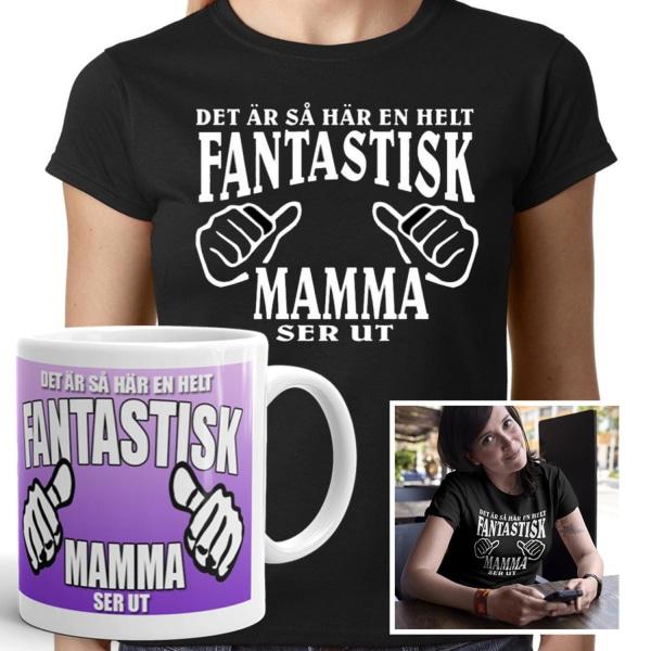 Mamma T-shirt & mugg paket -  Fantastisk Mamma ser ut M
