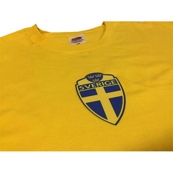 Sverige logo gul t-shirt Sweden tröja i bomull Yellow S