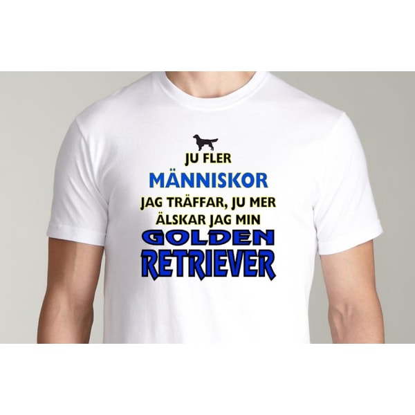 Vit T-shirt  - Golden Retriever hund tröja L