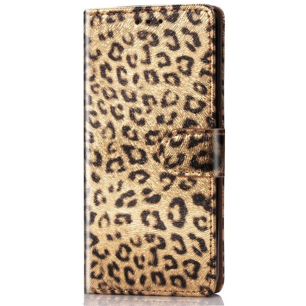 Läderfodral med ställ/kortplats leopard guld, iPhone 11 guld