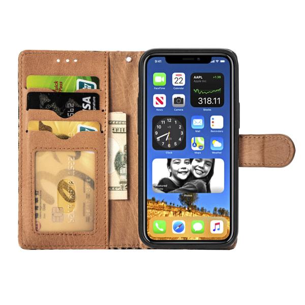 Leopard läderfodral med ställ/kortplats, iPhone 12 Mini, guld