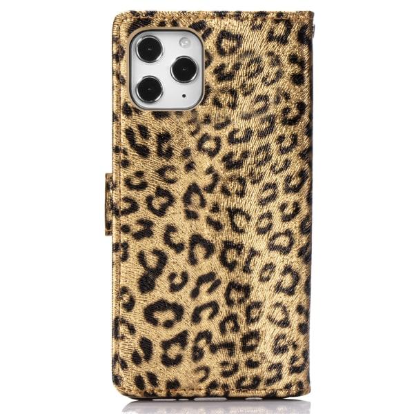 Leopard läderfodral med ställ/kortplats, iPhone 12/12 Pro, gu...