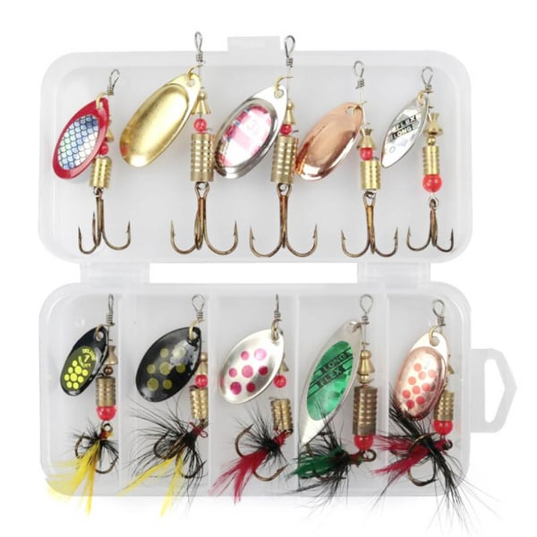 10st / set Fiske Sequin Bait Lure Spinner Sequin Hook Baits Kit