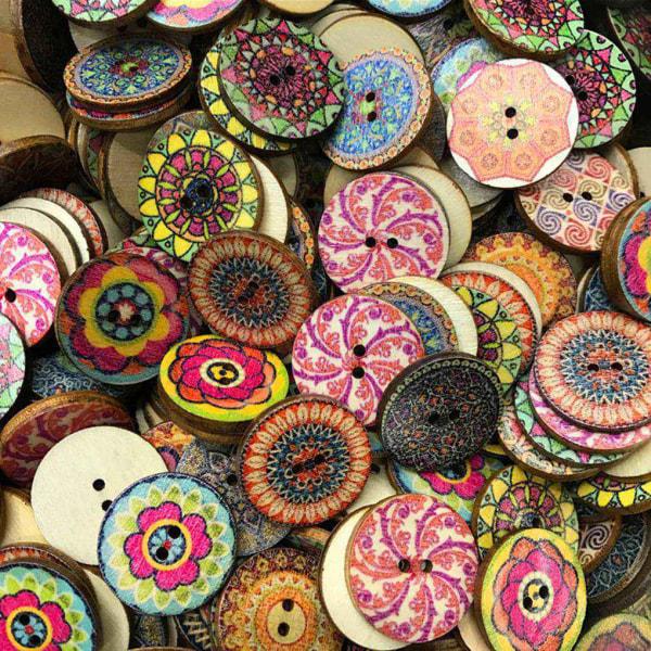 25mm 100st / påse Runda blommotryckta dekorativa träknappar