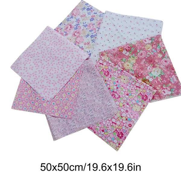 7st / uppsättning Bomullssömnad Patchwork Textil Rosa Serie 50 * 50cm