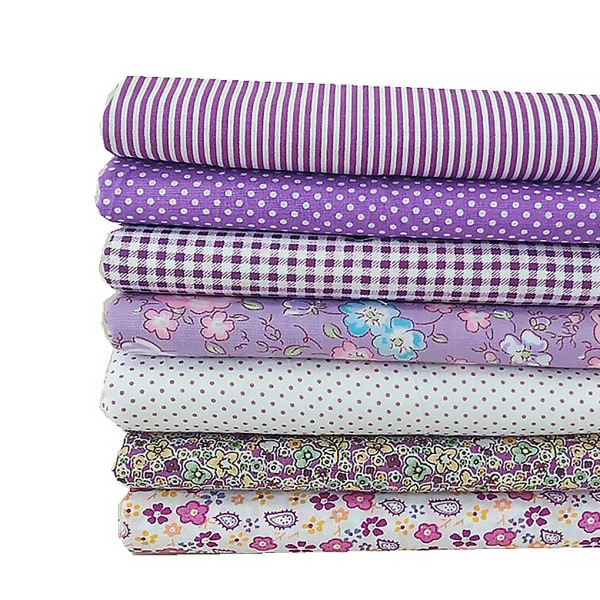 7st / uppsättning DIY Flower Printed Patchwork Sewing Purple 50 * 50CM