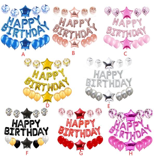 Födelsedagsballonguppsättning Grattis på födelsedagsfest Star Decorations Kit