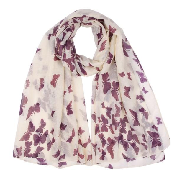 Fjärilstryckt Voile Scarf Insect Pattern Shawl Silk scarf