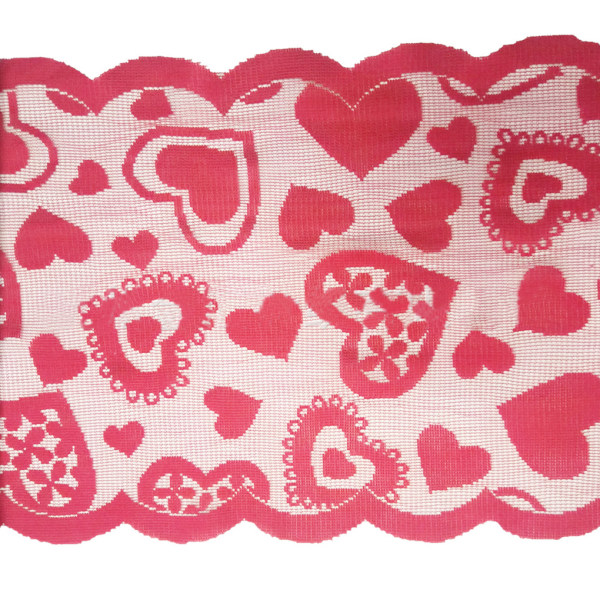 Jul röd hjärta formad bordsduk tabell löpare dekoration