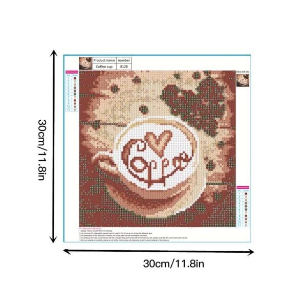 Kaffe 5D diamantmålningsset Rhinestone Picture Art Crafts Kit