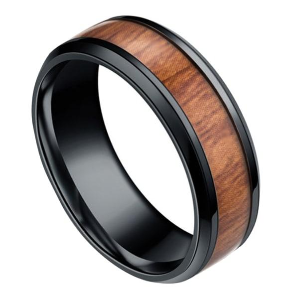 Herr 8mm Retro Titamium och Wood Inlay Ring Band Svart