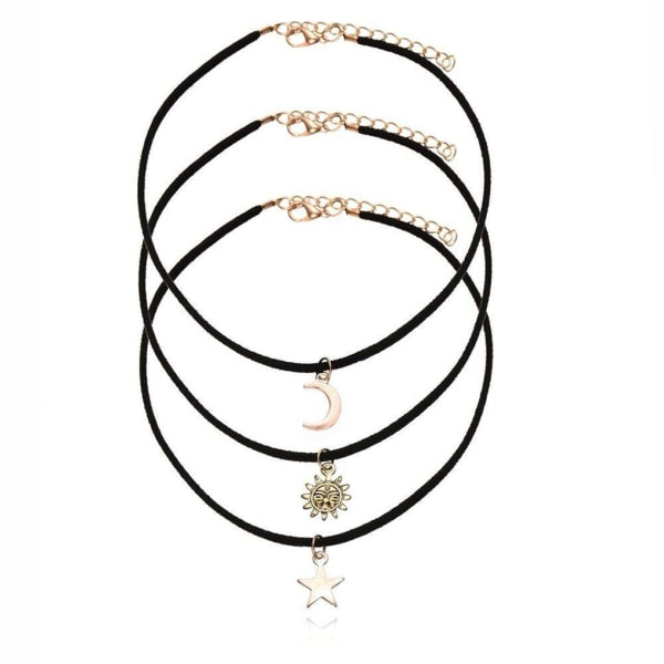 Halsband med Star Moon Sun Pendant Women Short Necklace