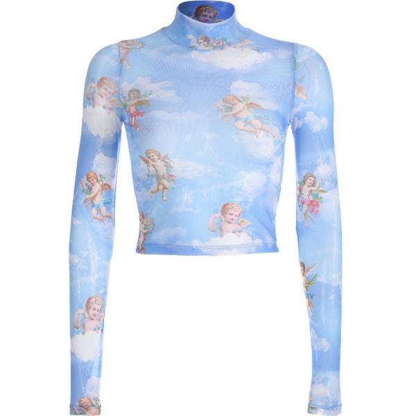 Kvinnor Angel Print Mesh Short Top Perspective Långärmad T-shirt