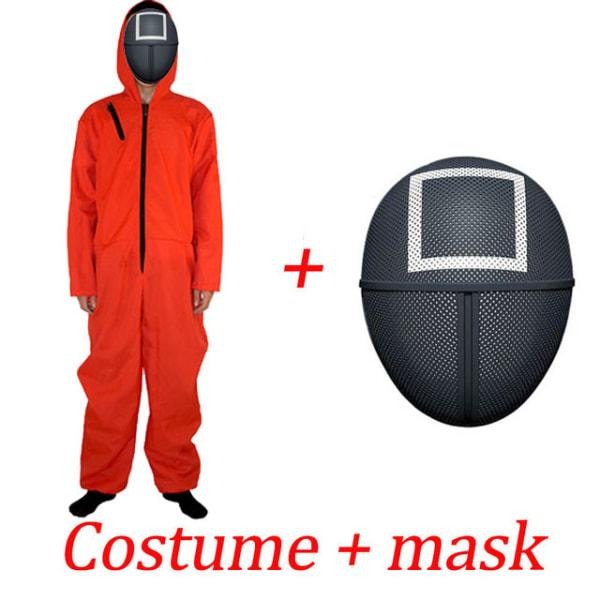 Squid Game Cosplay Halloween Square Masks + Jumpsuit för vuxna S