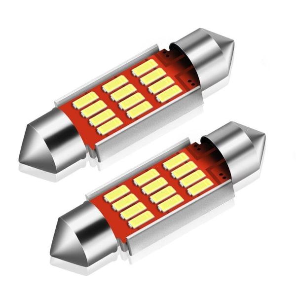 2X CANBUS C5W SV8,5 36mm Festoon 12 LED 4014 - Vit Vit one size