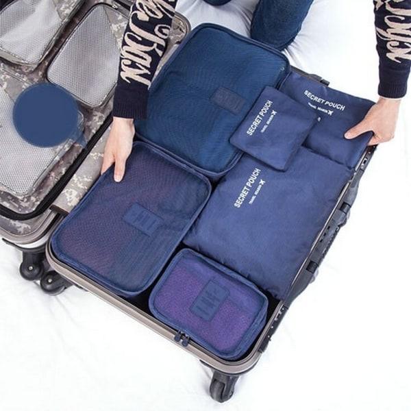 Blå 6st Insatser till resväskor Blå one size