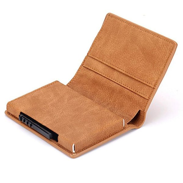 Brun RFID - NFC Skydd Läder Plånbok Med Sedelfack Korthållare  Brun one size