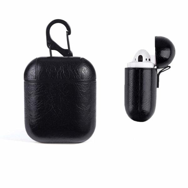 Läder Fodral för Apple Airpods / Airpods 2 - Svart Svart one size