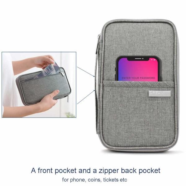 RFID Skydd - Grå universell Resa plånbok Passfodral  grå one size