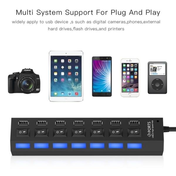 USB 2.0-Hubb 7-Portar - Svart
