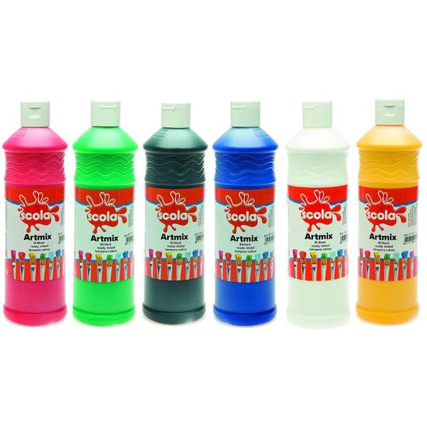 Set med Vattenfärger - 6 x 600 ml - Färdigblandade