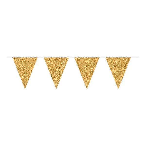 6m - Vimpelgirlang / Girlang Glitter - Guld Gold