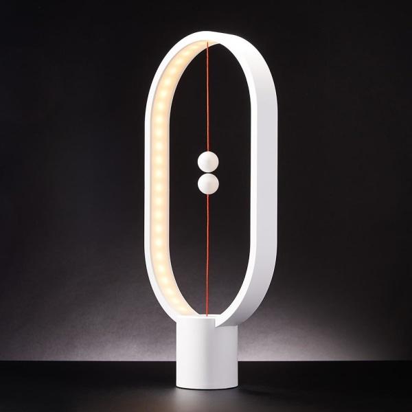 Tasapaino- / pöytävalaisin - soikea LED -lamppu - valkoinen White