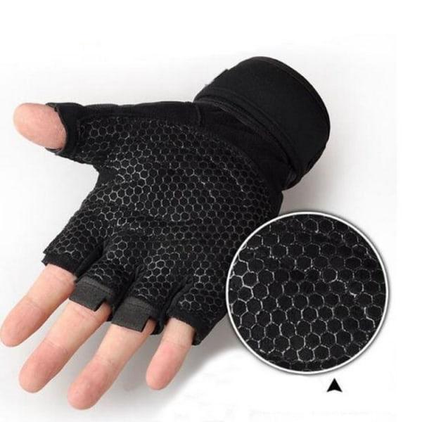 Gymhandskar / Träningshandskar för bättre grepp - Svart (L)