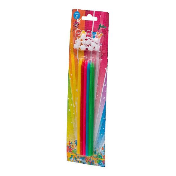 Kagelys / lange fødselsdagslys - flerfarvet (10 -pakning) Multicolor