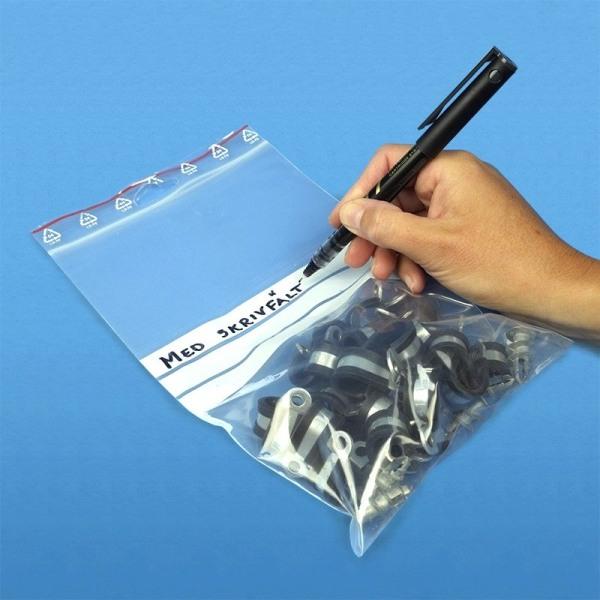 100 -pakkaus - 17,5x30 cm Ziplock / vetoketjulukot Kirjoituskenttä / Zip Lock
