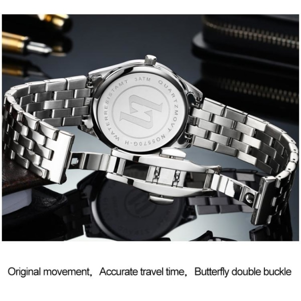 Kvartsur / armbåndsur - Vandtæt - Sort Black