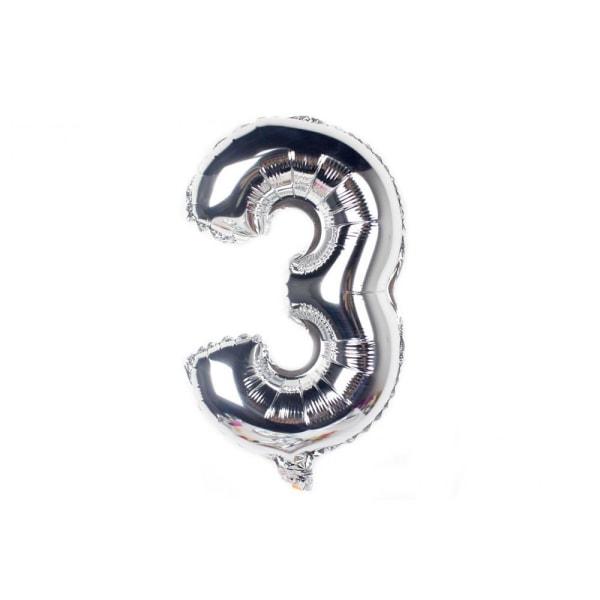 Nummerballon nr. 3 / Metallisk ballon 80 cm - Sølv Silver