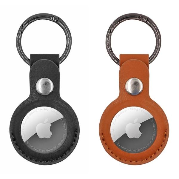 2-Pack AirTag Skal / Skydd med Nyckelring - Välj färg! Brun