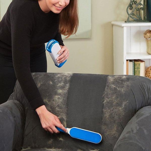 Nukkojen ja hiusten poistoaine huonekaluille - Poista hiukset kankaasta