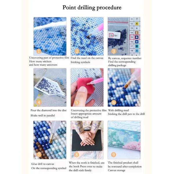 Diamond Painting / DIY 5D Diamantmålning - 30x30cm - Uggla