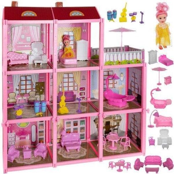 Nukkekoti / leluhuone lapsille - 8 huonekalua Pink