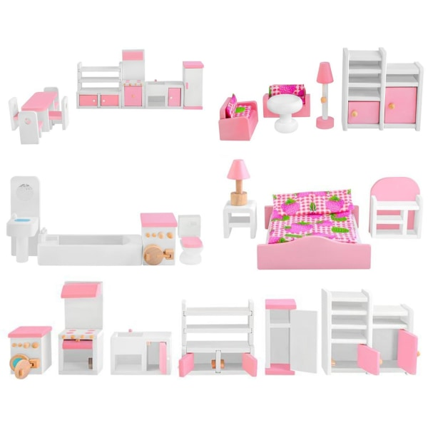 Dukkehusmøbler - Dukkehusmøbler (27 dele) Pink