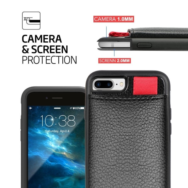 iPhone 8 Plus - Skal / Mobilskal med Dolt Kortfack / Korthållare Svart