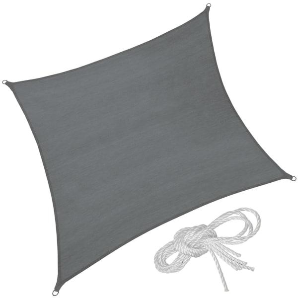 tectake Solsegel i polyeten kvadratiskt, grå - 360 x 360 cm grå